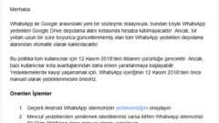 Whatsapp Yedeklerinizi Almak İçin Son Tarih 12 Kasım
