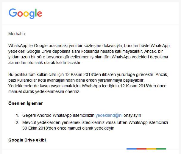 Google drive whatsapp yedeklerini kullanmayacak