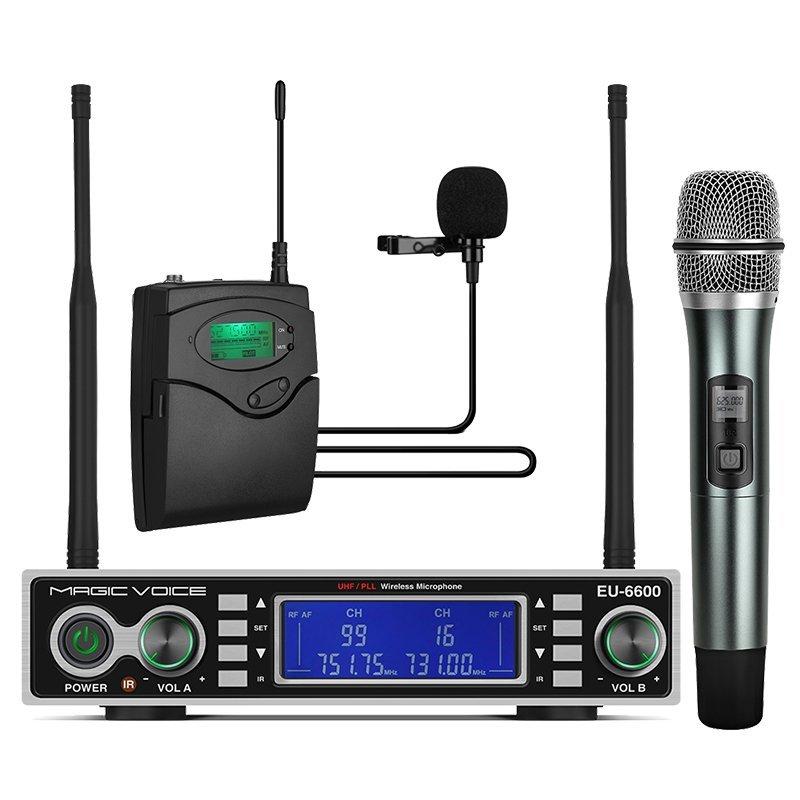 Magicvoice MV-1200YE Çift Tunerli Kablosuz 1 El-1 Yaka Telsiz UHF Mikrofon