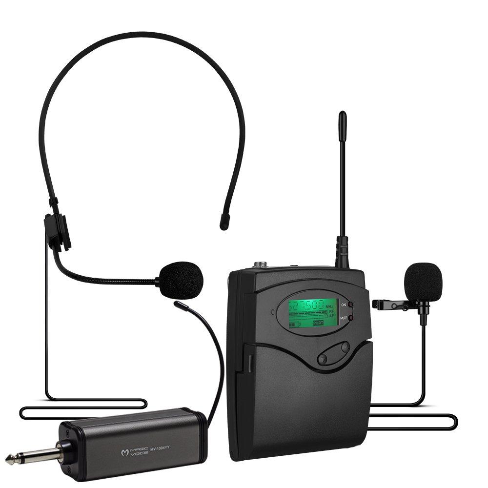 Magicvoice MV-1303Y Kablosuz 1 Yaka+1 Headset Telsiz Mikrofon